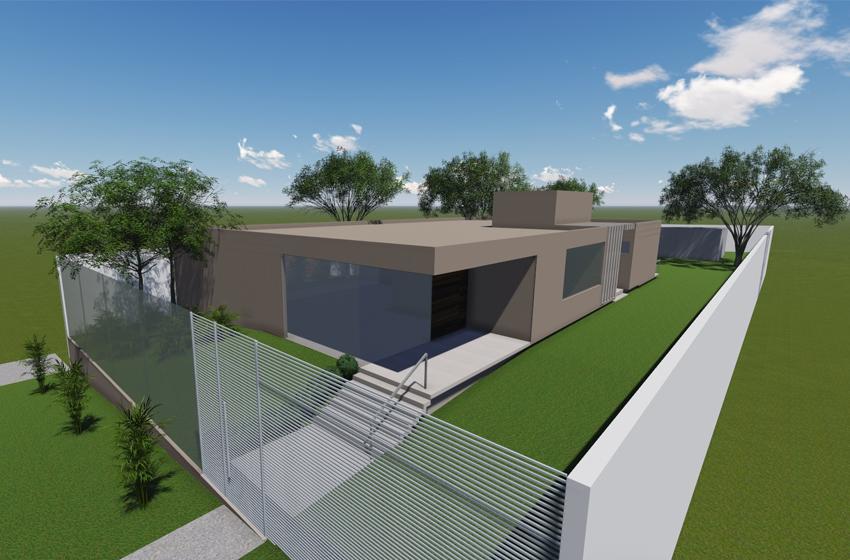 Plano geral (3D) do projeto de arquitetura residencial em BH